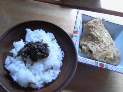 シラスと山椒の実入り卵焼き・青唐味噌ご飯