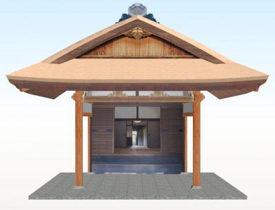 新築のむくり屋根玄関(正面+こけら葺)