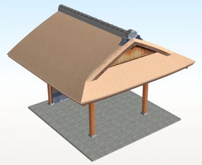 新築のむくり屋根玄関(斜め+こけら葺)
