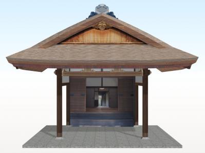 20年後のむくり屋根玄関(側面+こけら葺)