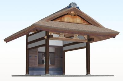20年後のむくり屋根玄関(斜め+こけら葺)