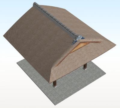 20年後のむくり屋根玄関(斜め上+こけら葺)