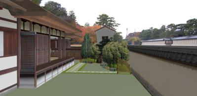 京都御所を望む清閑寺家邸