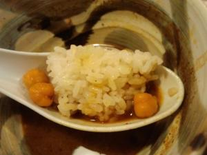 11021314○汁屋・限定メニュー グリーンカレーつけ麺 ライス in スープ&ひよこ豆