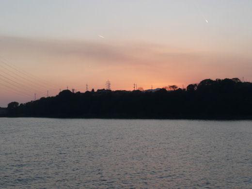 倉敷市玉島・柏島神社方向風景(乙島西小型船舶係留施設より その1、10.12上旬)