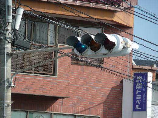岡山市北区・高柳東町信号交差点(主道路東行き用主車灯、10.10中旬)