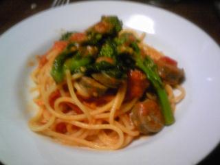 ラムのサルシッチャとチーマディラーパのスパゲティーニ