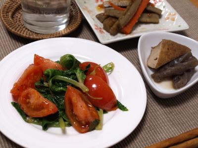 トマトとセロリ葉の炒め物