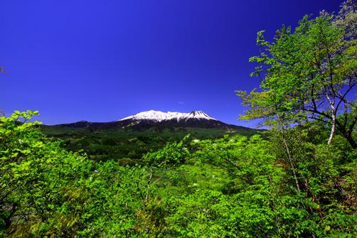 若葉と残雪映える霊峰御岳