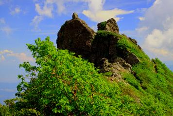権現岳山頂の岩