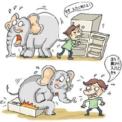 100122 冷蔵庫のゾウを入れる方法