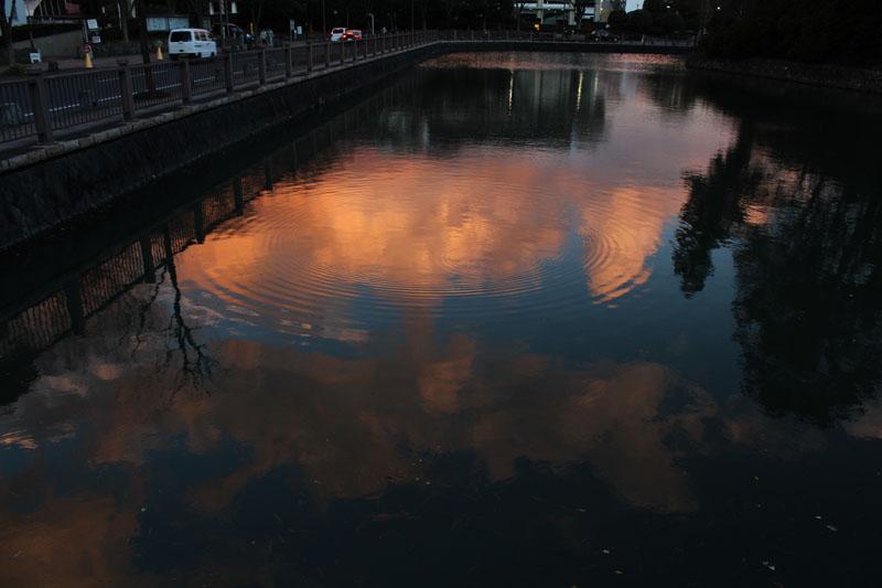 中堀に映る雲 120111
