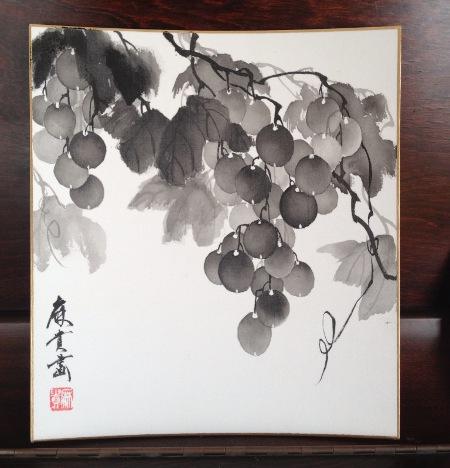 201302 水墨画 絹 葡萄