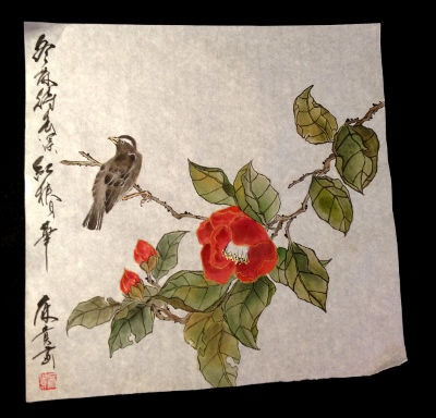201301 椿 工筆画