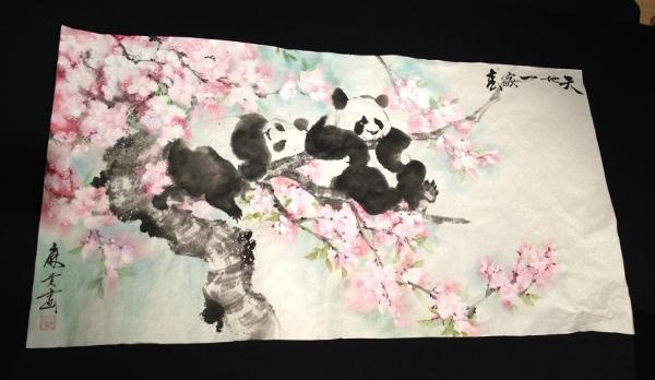 201302 春節 水墨画 パンダ 桜