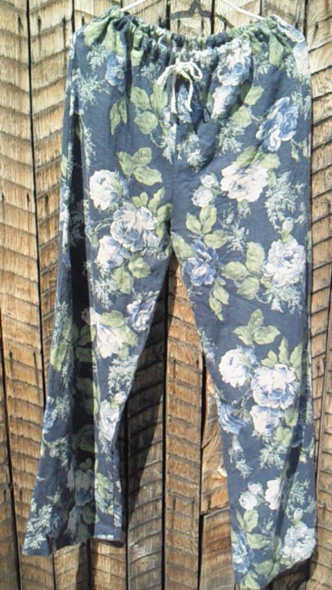 薔薇リネン紺色パンツ