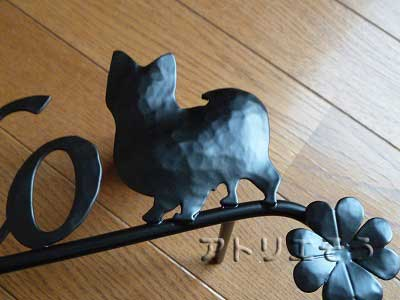 パピヨン犬+クローバー表札