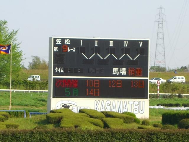 笠松競馬場電光掲示板:10/04/29