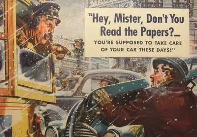 1940s Mobilgas Automotive Vintage Advertisment Winter City Urban Snow