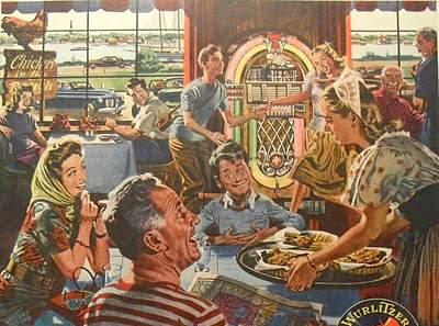 1940s WURLITZER JUKE BOX vintage advertisement illustration teens men women restaurant