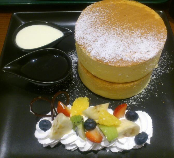 石屋カフェのホットケーキ