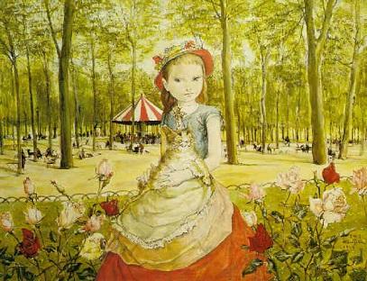 藤田嗣治 レオナール・フジタ 公園のニーナ niña en el parque
