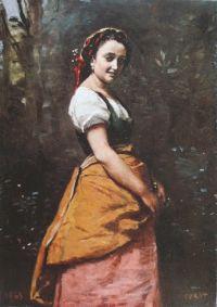 コロー 森の中の若い女
