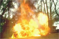 イラーナのダイナマイトが爆発炎上
