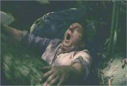 ハーリーをかばって、倒れてきた木に挟まれたベン