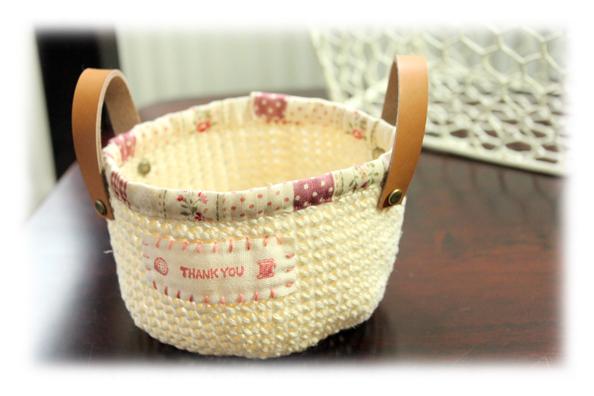 麻編みかご白1