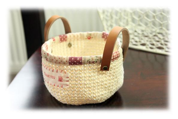 麻編みかご白2