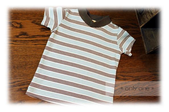 水色×茶色Tシャツ