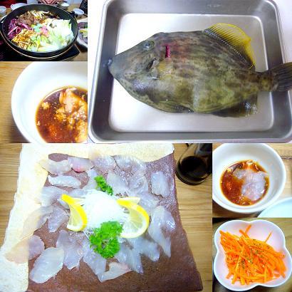カワハギの刺身&猪鍋(すき焼き)