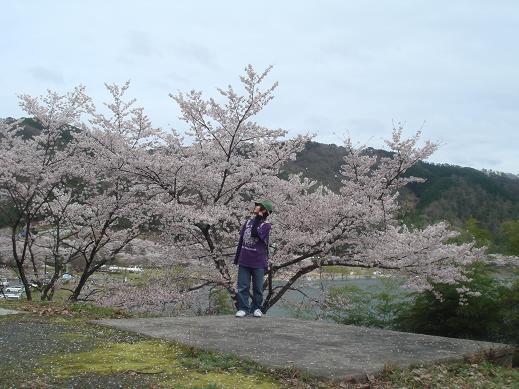 満開の桜を背景に・・・♪