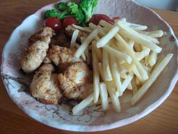 鶏肩肉の香味野菜のパン粉焼き&フライドポテートゥー♪♪