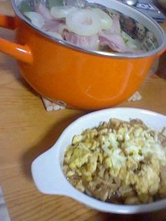 炒り卵&豆腐&えのきだけにチーズのトッピング♪
