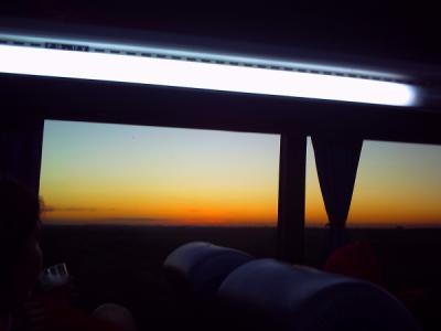 夜行バスで迎えた夜明け