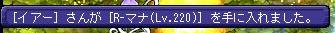 [イアー]さんが[R-マナ(Lv220)]を手に入れました。