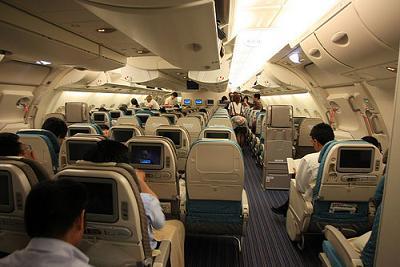 飛行機の機内写真
