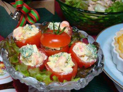 海老とブロッコリーのトマトカップ