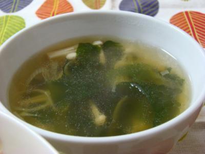 わかめとえのきのスープ!
