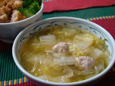 白菜と葛きりの中華スープ!