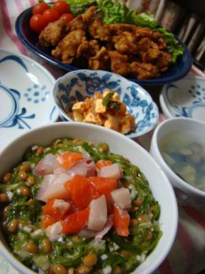 海鮮めかぶ納豆丼♪と。