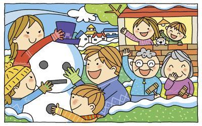 家族雪だるま