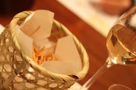白ワイン と そばがき