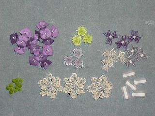 紫陽花ブーケのパーツたち