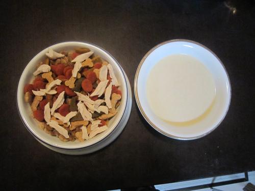 ササミご飯と特製ミルク