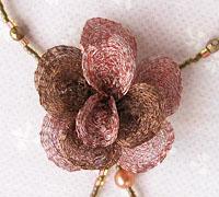 メタルメッシュリボン バラ 花 ネックレス