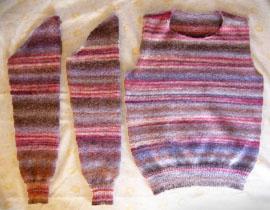 手編みのセーター 身頃・腕