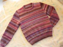 手編みのセーター メリヤス編み ダイヤドミナ
